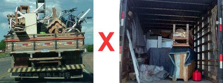 foto de caminhão de mudanças aberto e caminhão de mudanças fechado do tipo baú